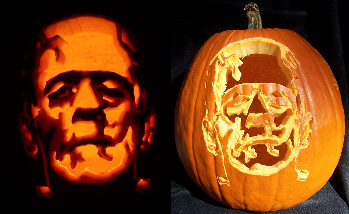 Frankenstein39s pumpkin by kamose on deviantart for Frankenstein pumpkin carving