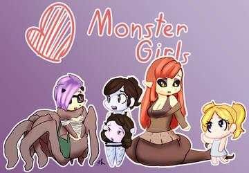 Heart Monster Girls by ACharmingPony