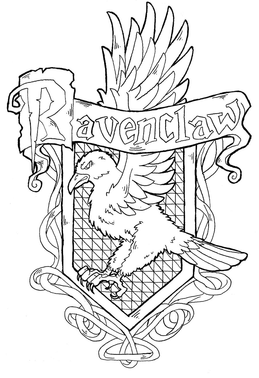 Hufflepuff Crest Coloring Page Harry Potter Ravenclaw Crest