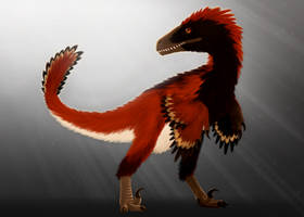 Dromaeosaurus, and grey background by ZeWqt