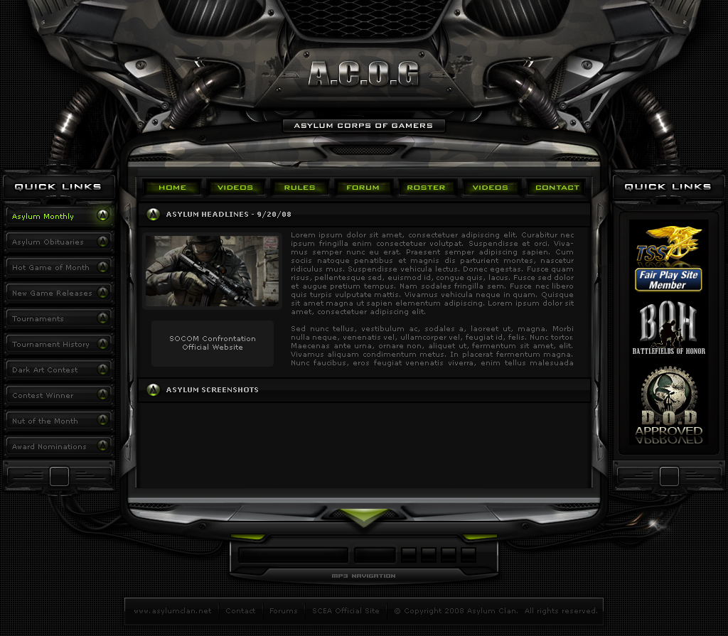 AsY Clan Gaming Site Layout