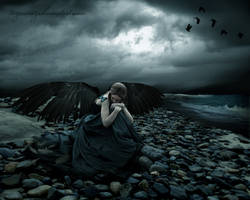 she grieves at her broken wing by tazwaraz
