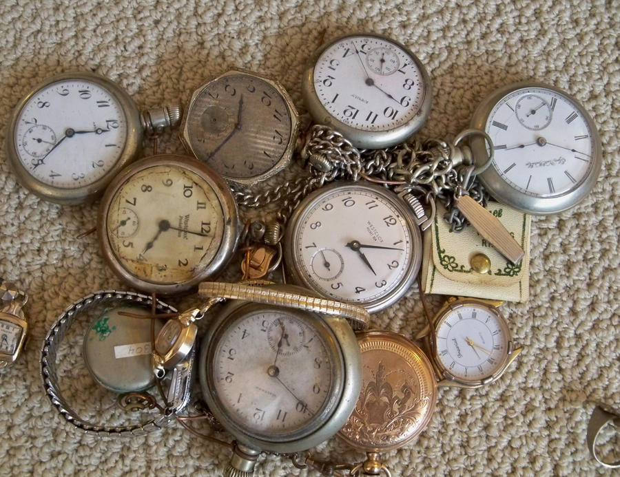 Pocket Watch Grouping Stock by specialoftheweek