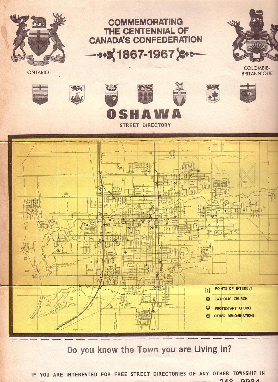 1967 Oshawa Map by specialoftheweek