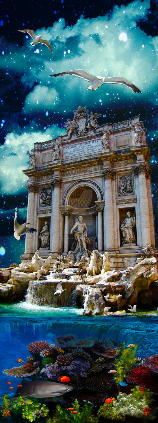 Moonlit Trevi Fountain Tropical Fantasy