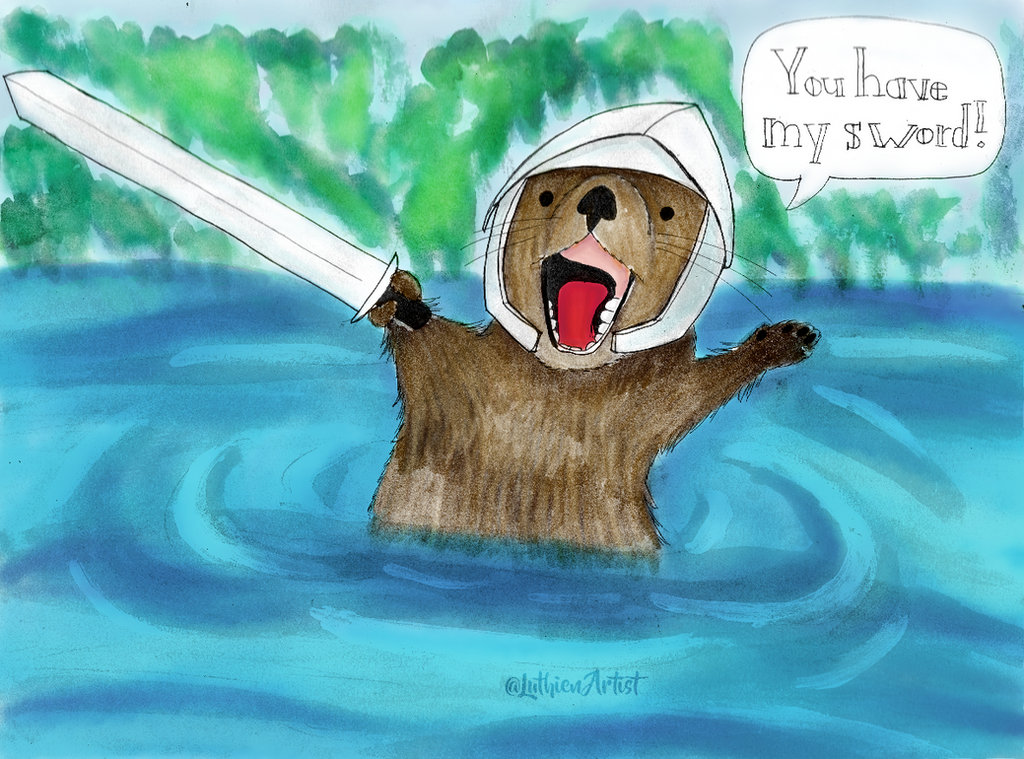 Lancelotter the Otter Knight (Color) by LuthienArtist
