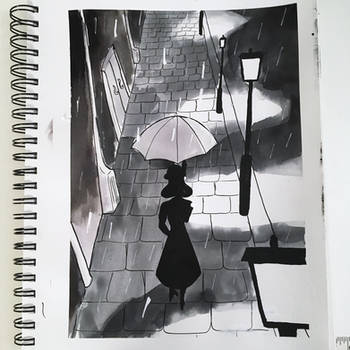 #NoirTober Day 11: The Rain by LuthienArtist