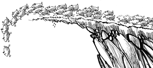 Lemmings-off-a-cliff by JellyMayCry