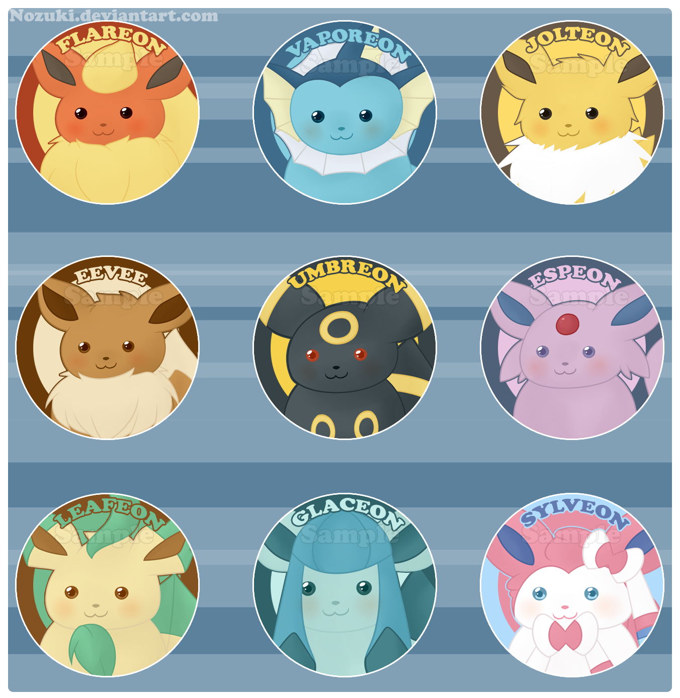 eevee evolution buttons now available by nozuki on deviantart