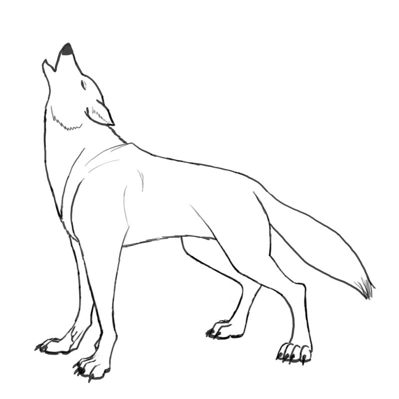 Simple Wolf Lineart : Simple wolf howling drawing