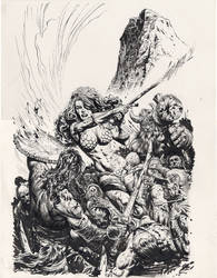 Sonja cover black and white by LiamSharp