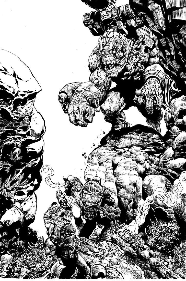 gears of War Brumak issue 3 BW by LiamSharp on DeviantArt