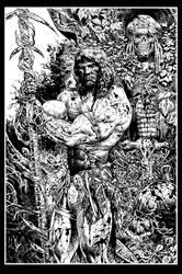 Conan black and white art by LiamSharp