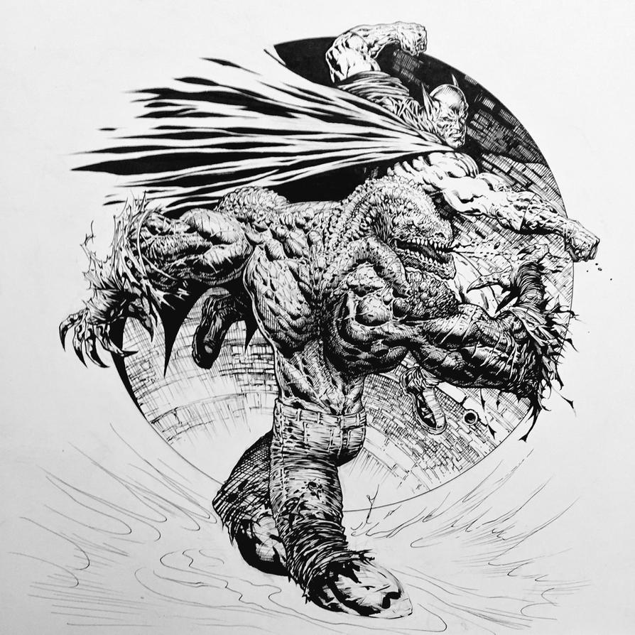 Batman vs Killer Croc! by LiamSharp