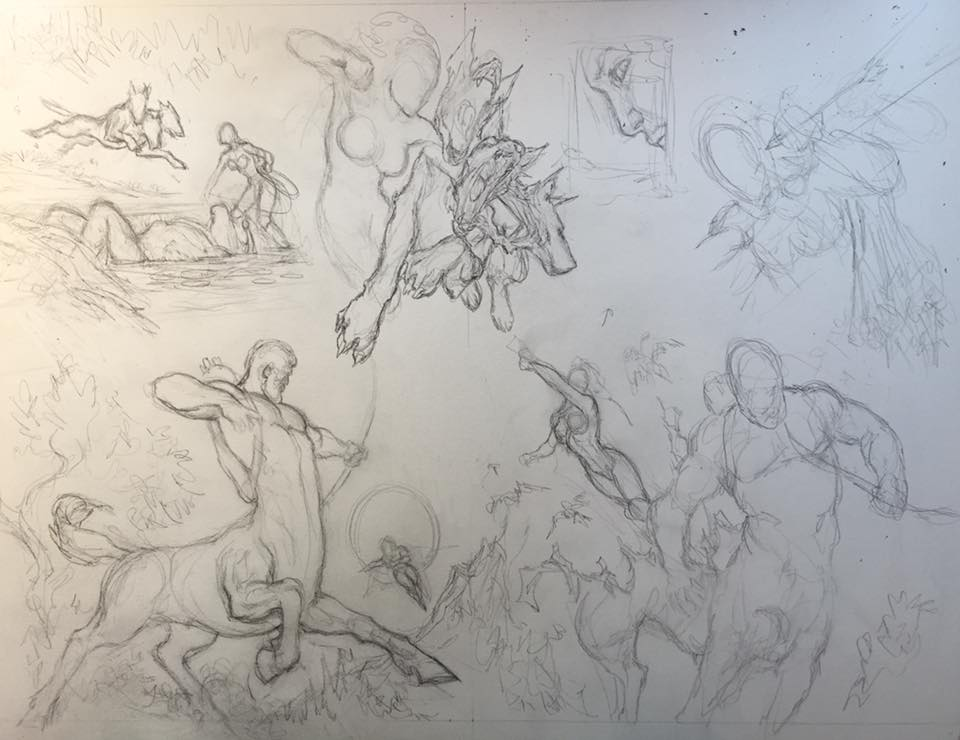Wonder Woman spread pencil layout by LiamSharp