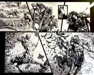 Pencils and inks for WW Rebirth spread