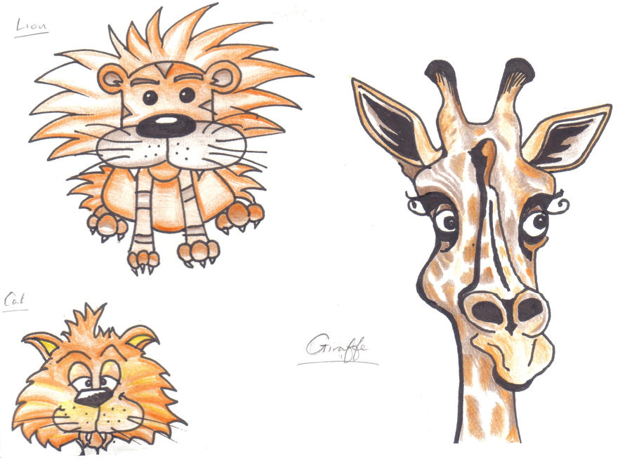 Cartoon Sketches Lion Cat Giraffe By Anita Sanderson