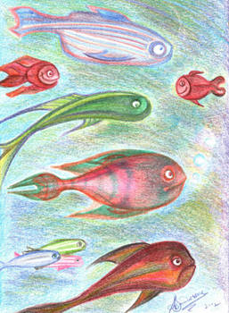 Fishes - Pencil Cartoon
