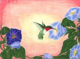 Ruby Throated Hummingbird by designchick69