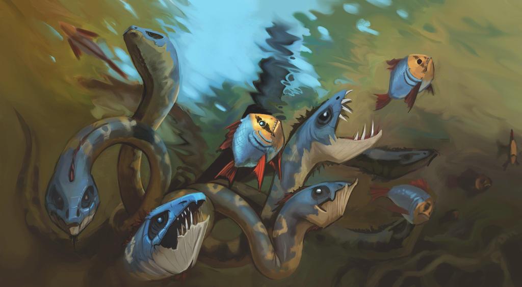 Nine-Heads Underwater Hydra by mattwatier