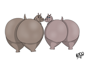 Giant Hippo Butts by Boman100