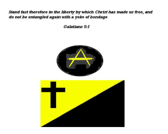 christian anarcho-capitalist flag with (a) symbol