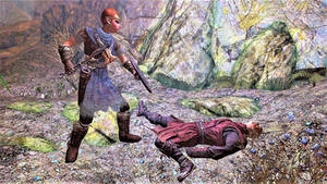 Thuringwen standing over Movarth's corpse
