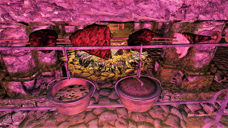 Dinner at Fort Cuptor: Mushroom Stew and Meats by FemaleBosmerAlways