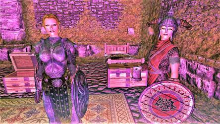 Darena and Dortja Arrive at Fort Cuptor by FemaleBosmerAlways