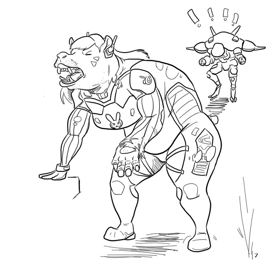 overwatch dva hippo by on deviantart