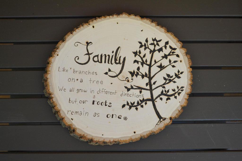 Woodburnt Family Decorative Sign by yobanda