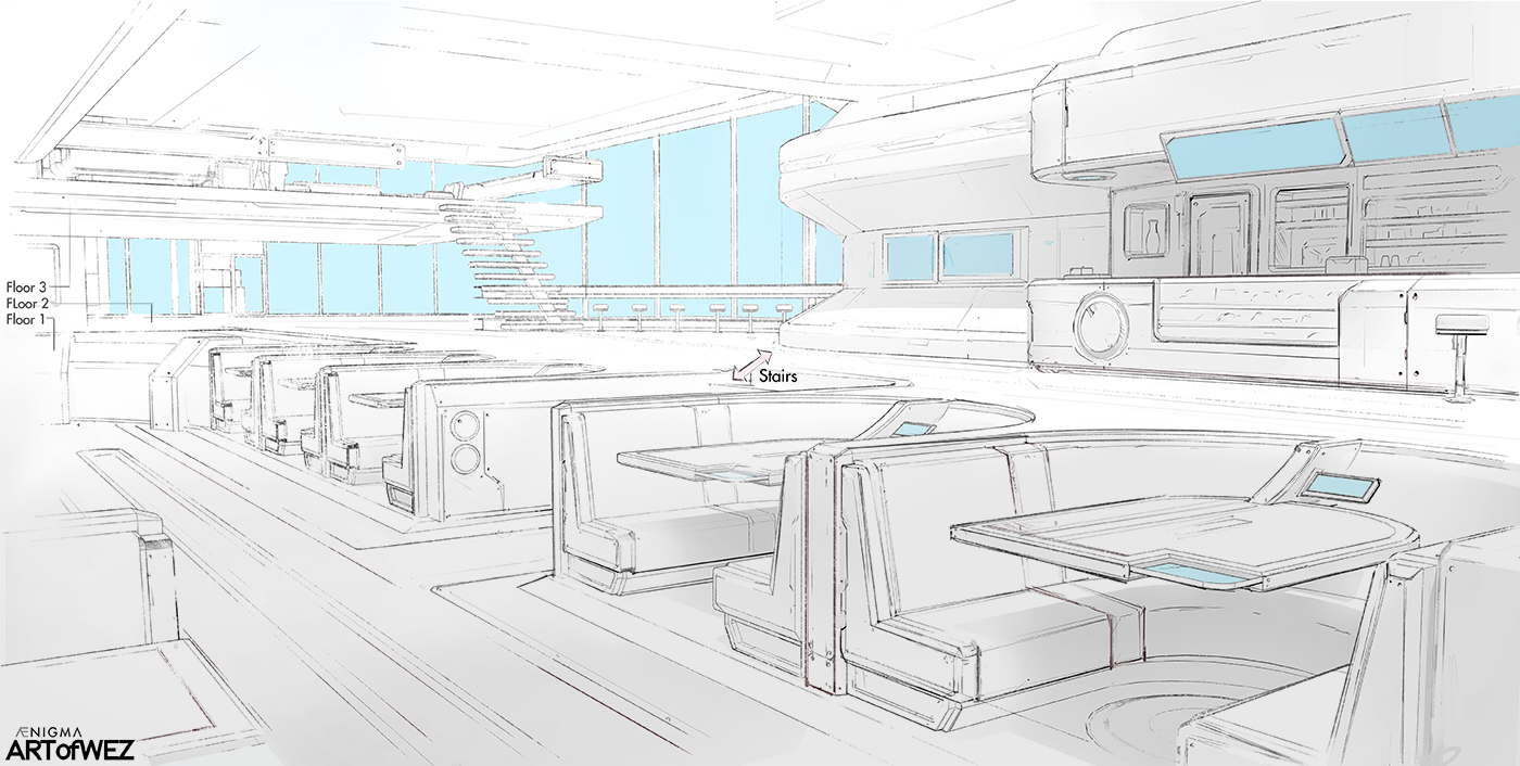 AENiGMA - U of J Cafe - Concept Sketch by W-E-Z