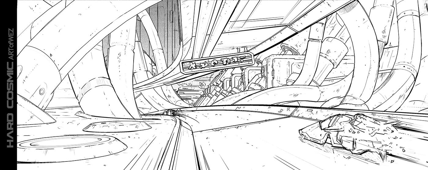 Hard Cosmic - Machine City Sketch by W-E-Z