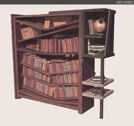 Tommorow's post apocalyptic bookshelf by W-E-Z