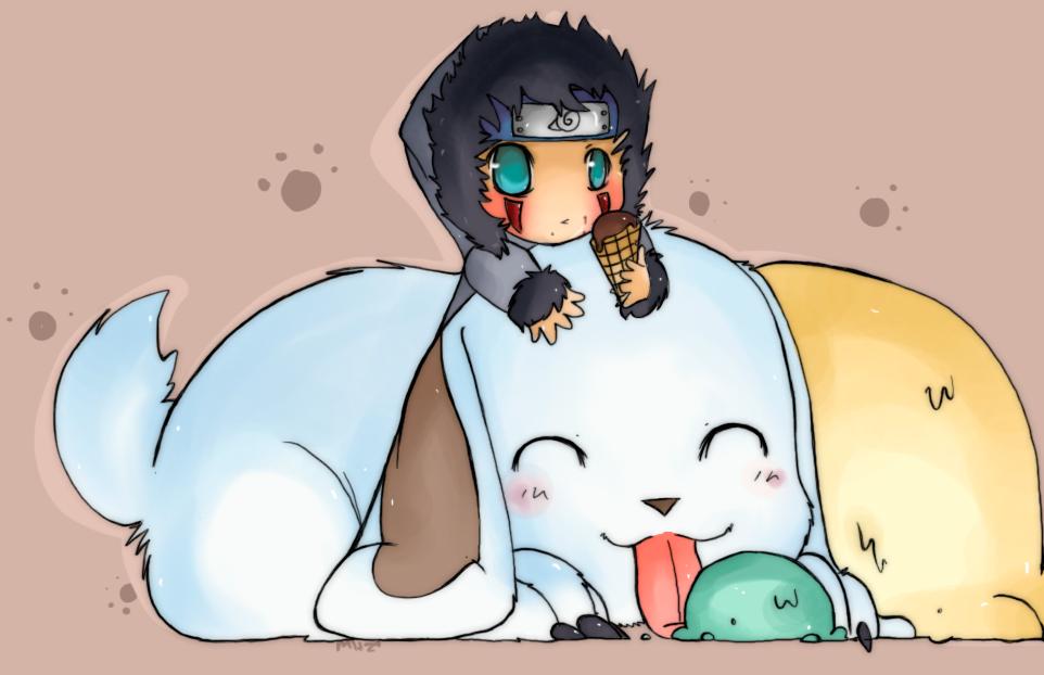 Kiba and Akamaru by Mittagessen