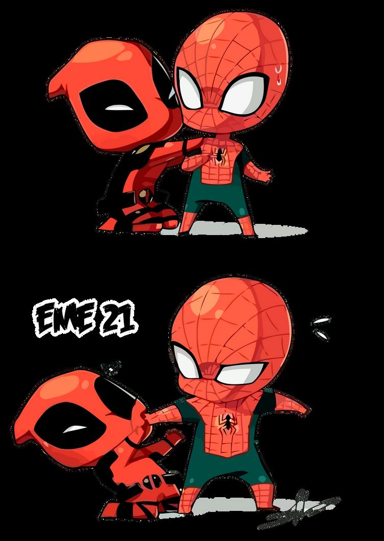 Deadpool Spiderman Chibi Render Eme Deviantart