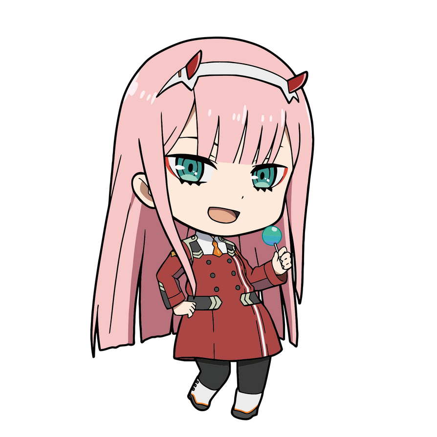 Zero Two Chibi Darling in the Franxx RENDER Vector by EME-21