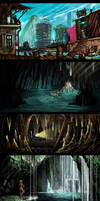 Environment sketches by Kwad-rat