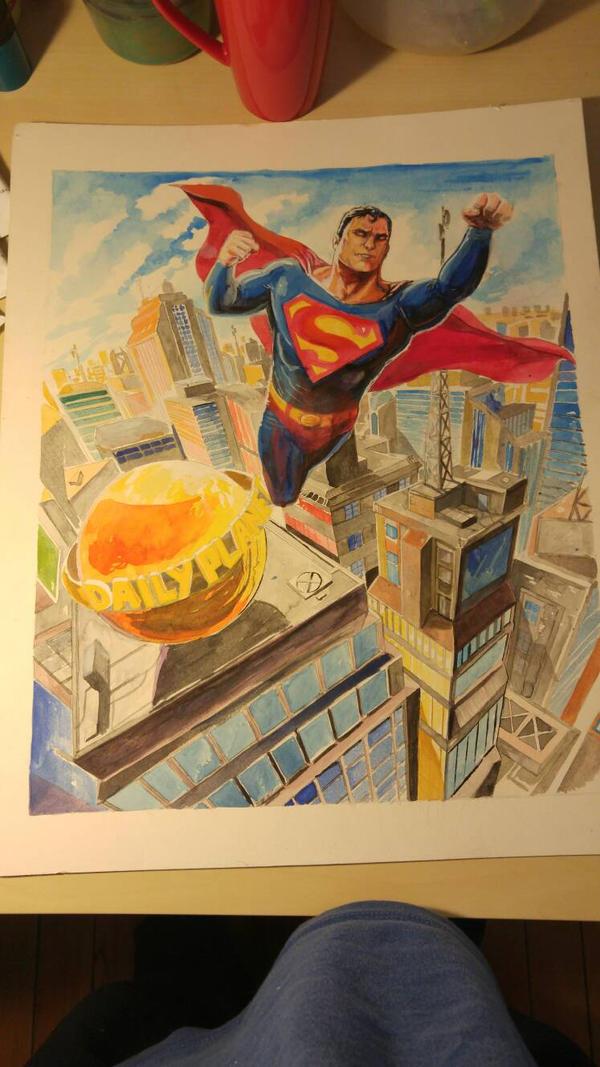 superman gouache painting by joeljseguin