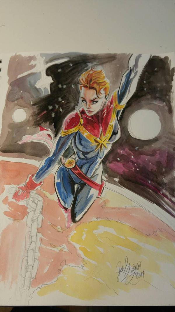 Captain Marvel gouache sketch by joeljseguin