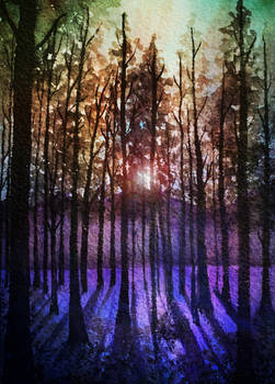 Rainbow sunset: fantasy watercolor forest