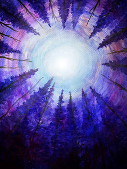 Circle of trees: watercolor forest