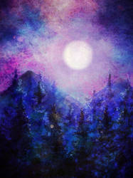 Digital Watercolor: full moon and forest