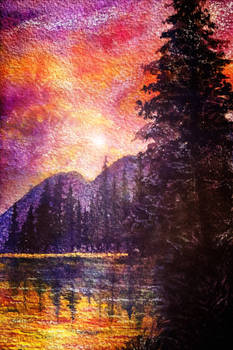 Sunset forest and lake: fantasy watercolor