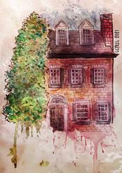 Loose Watercolor Sketch: Brick House