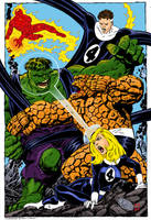Fantastic 4 vs the Hulk by statman71