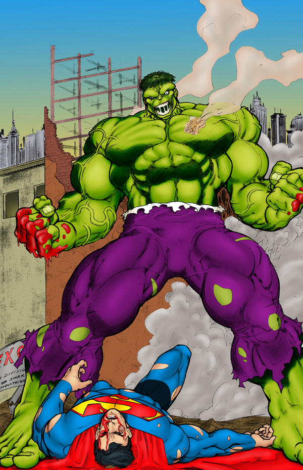 Hulk Beats Down Superman by statman71