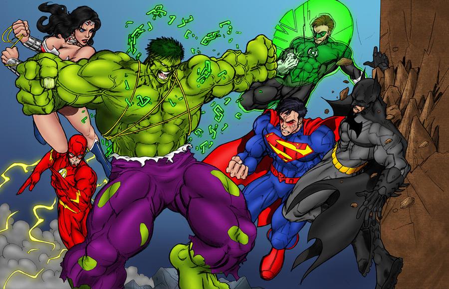 Hulk vs JLA by statman71