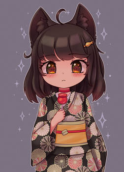 Kuro wearing Kimono