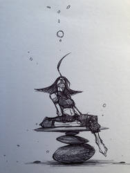 Day 2 of Inktober 2018 - Tranquility by cobaltplasma